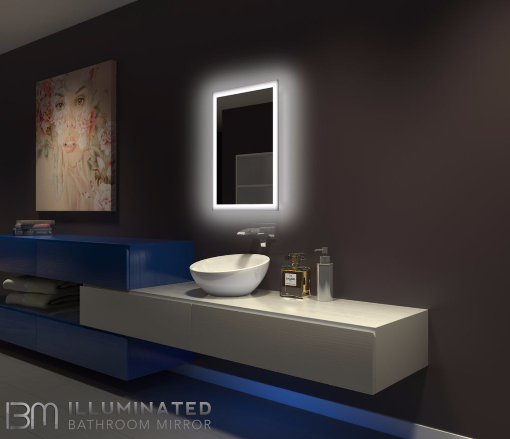 bathroom illuminated mirrors backlit mirror rectangle 20 x 28 ib mirror 10802
