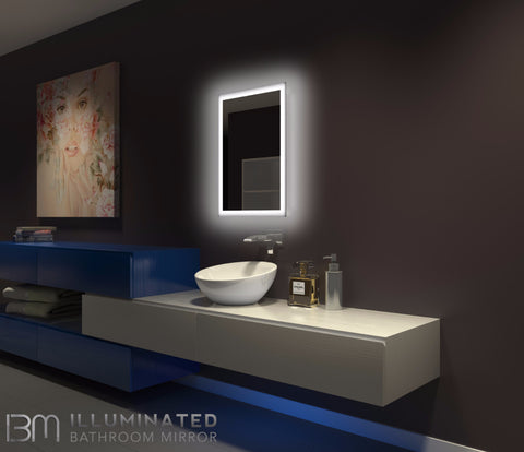 Dimmable Backlit mirror Rectangle 20 X 28. Modern Lighted bathroom mirror   Backlit Bathroom Mirror   IB mirror