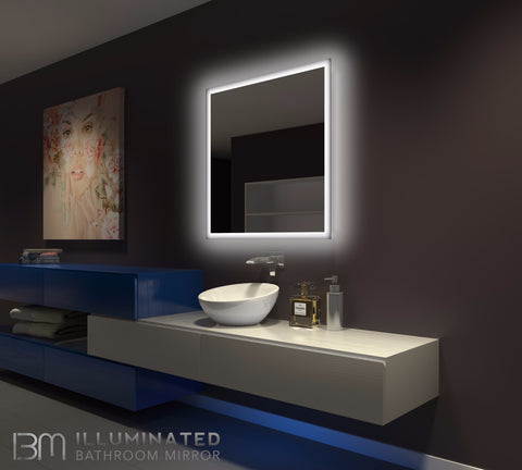 Dimmable Backlit Mirror Rectangle 36 x 36