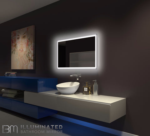 Dimmable Backlit Mirror Rectangle 40 x 24
