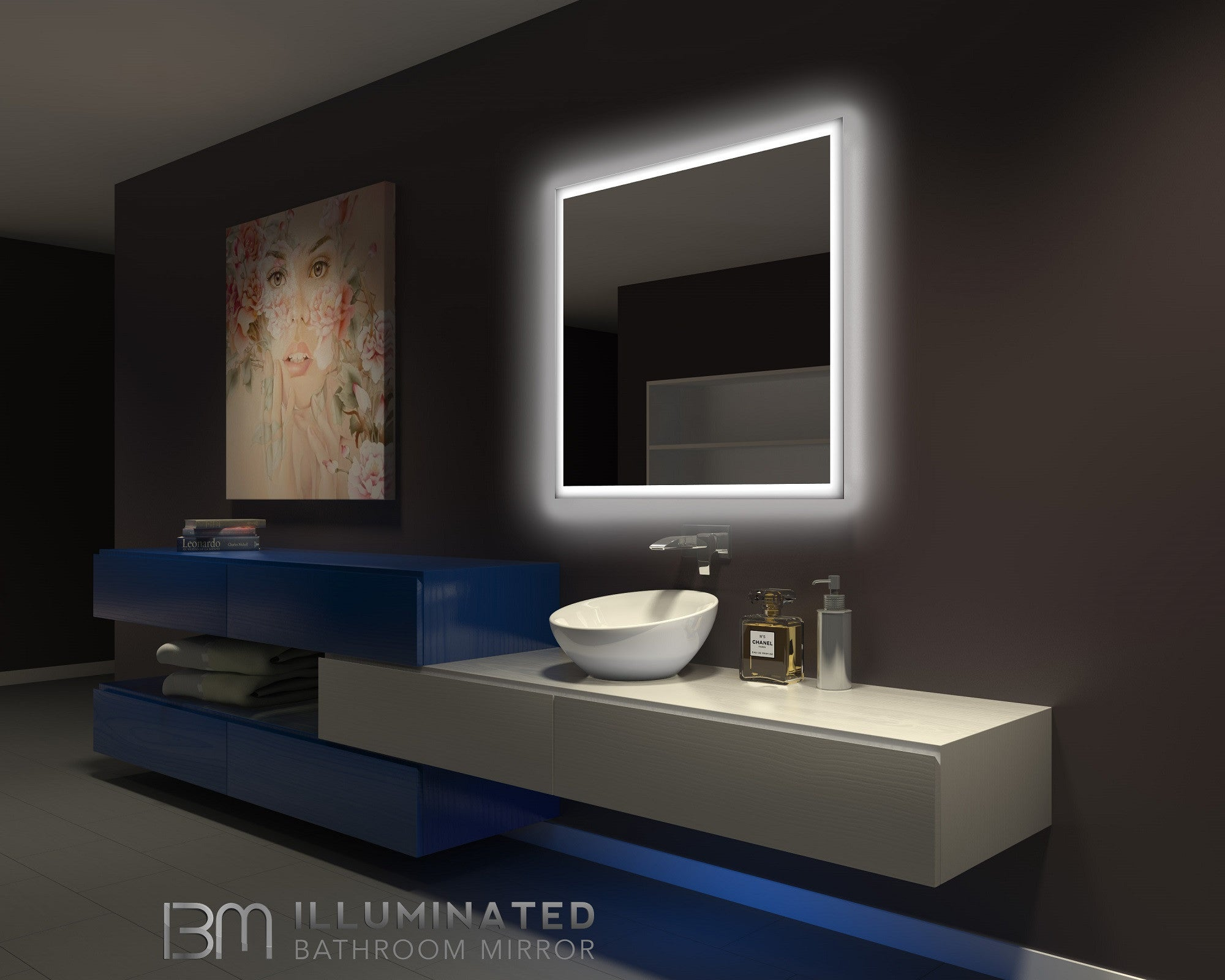 Dimmable Backlit Mirror Rectangle 40 X 36