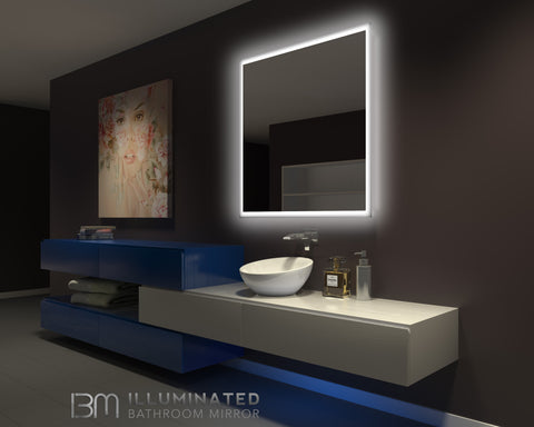 Dimmable Backlit Mirror Rectangle 42 x 42