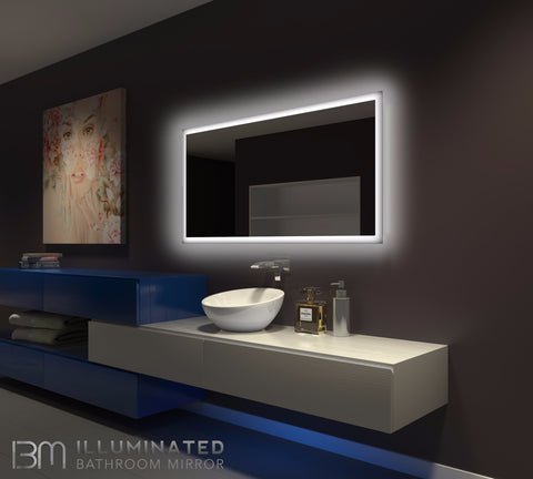 Dimmable Backlit Mirror Rectangle 55 X 28