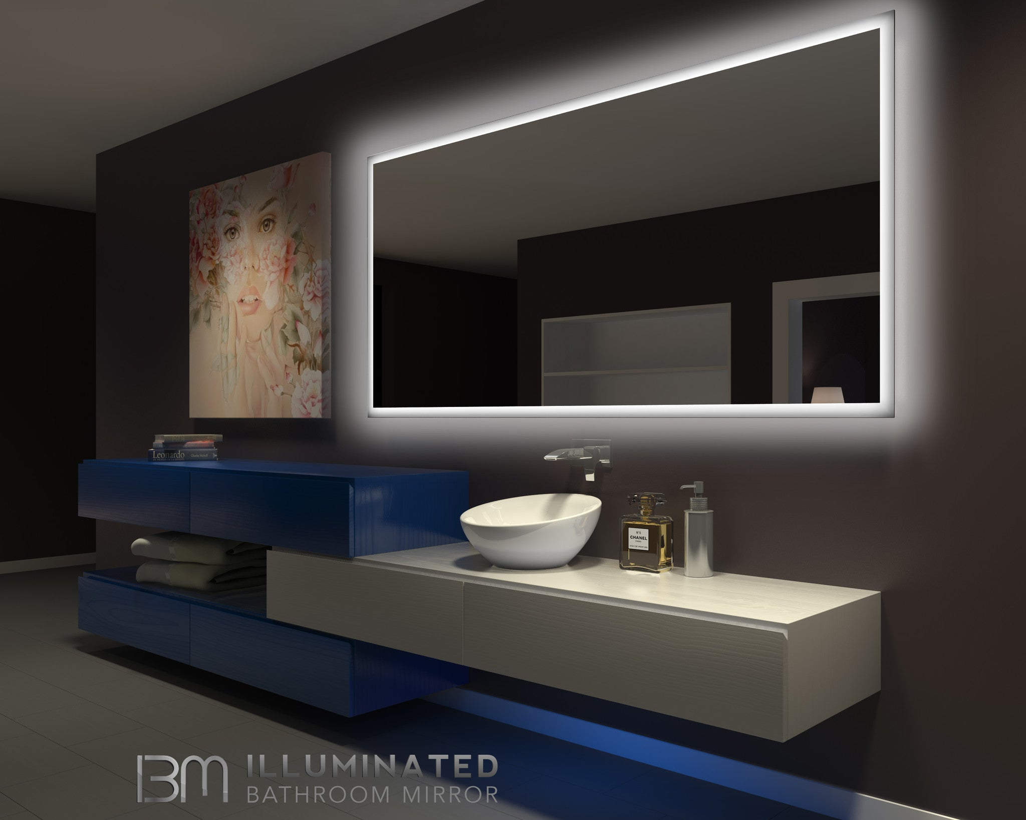 Dimmable Backlit Mirror Rectangle 85 X 40