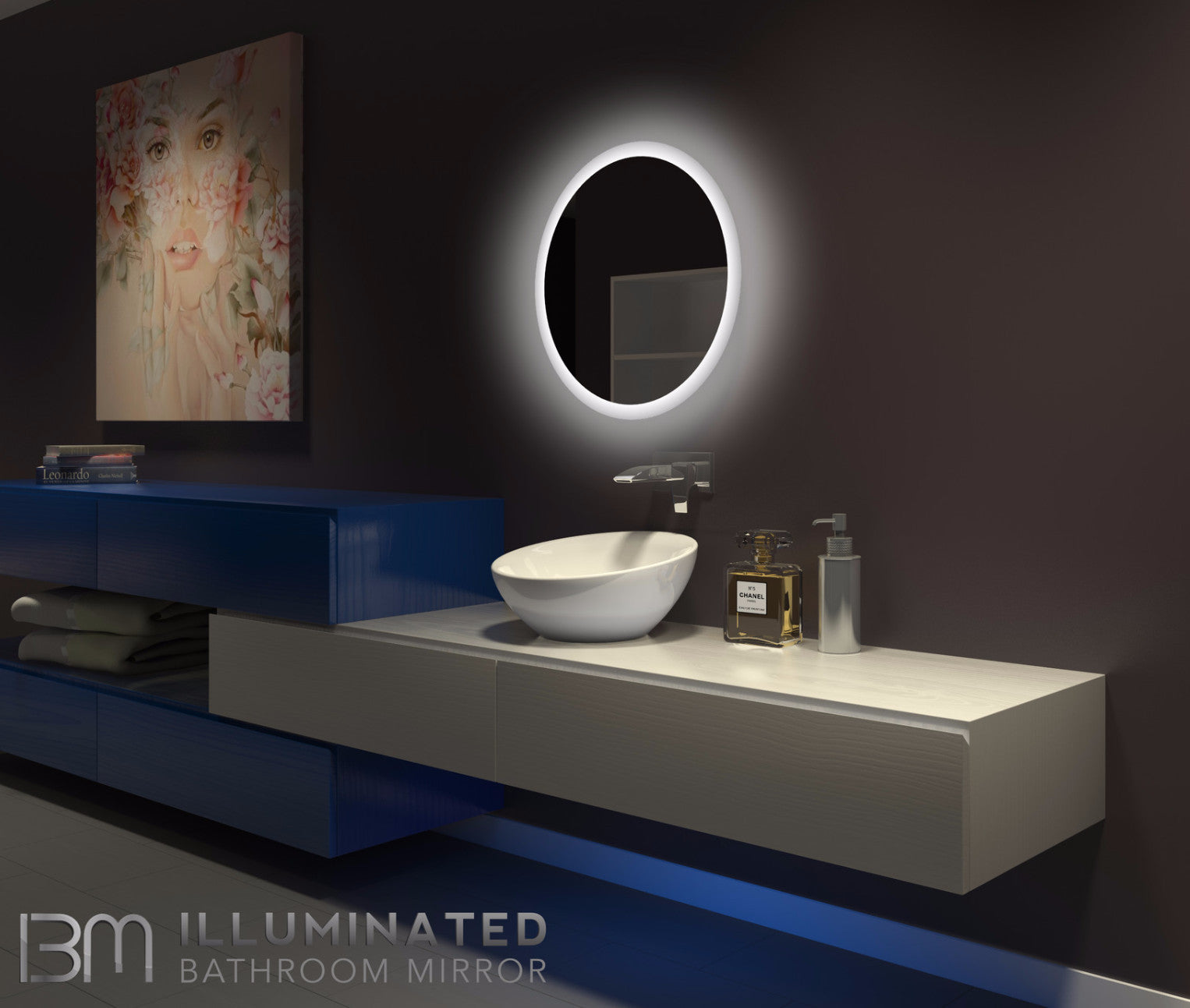 Dimmable Backlit Mirror Round 24 X 24