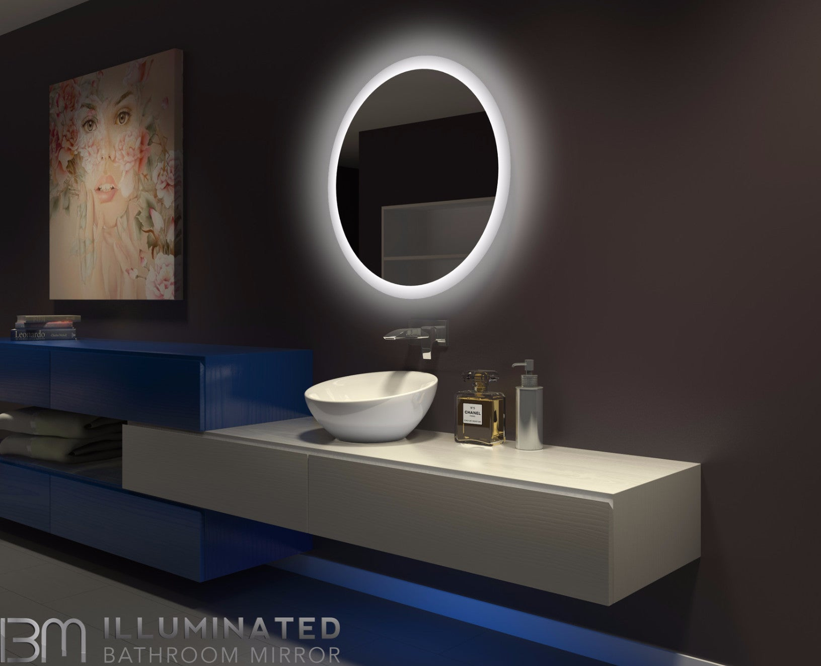 lighted wall mirrors for bathrooms dimmable backlit led mirror 32 x 32 ib mirror 23701