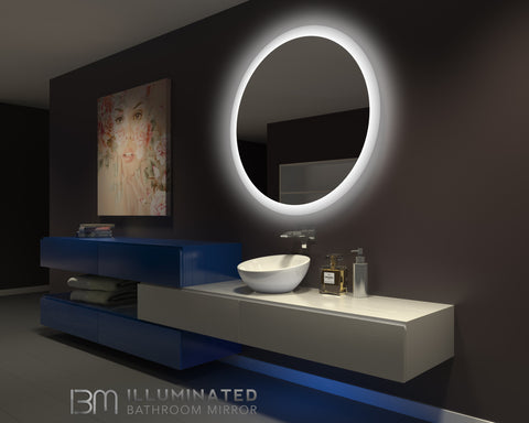 BACKLIT BATHROOM LIGHTED MIRROR ROUND 48 X 48 in Available November 15 th pre-order now