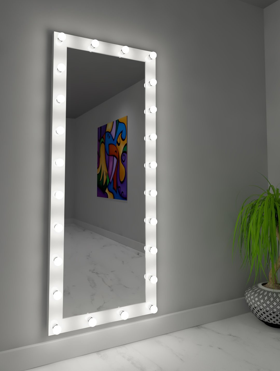 Dressing Hollywood Mirror White 70 x 28 in