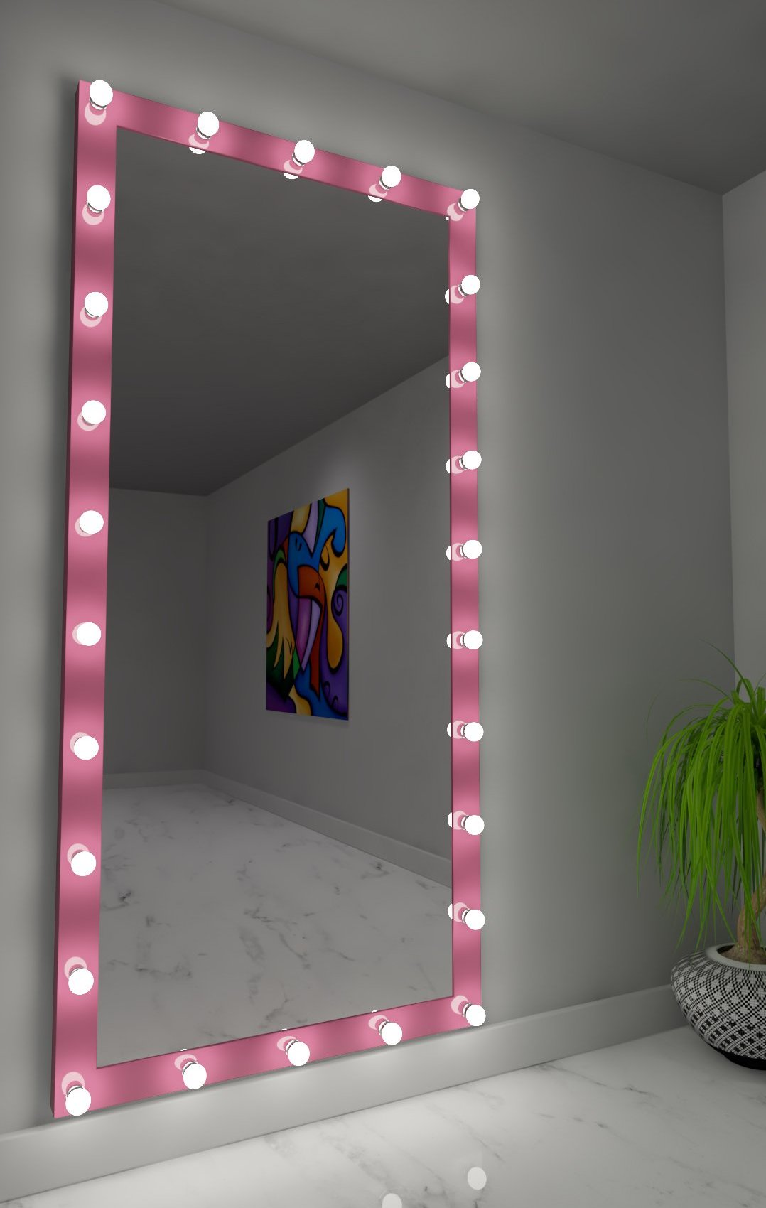 Dressing Hollywood Mirror Pink 85 x 40 in