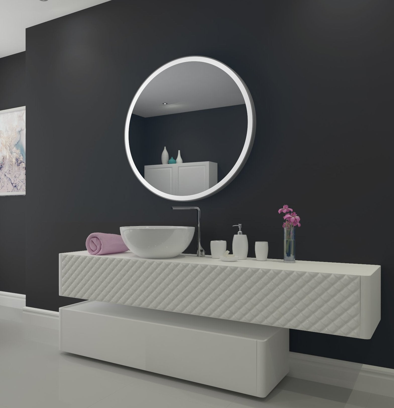 dimmable lighted bathroom mirror round galaxy 40 x 40 ib mirror. Black Bedroom Furniture Sets. Home Design Ideas
