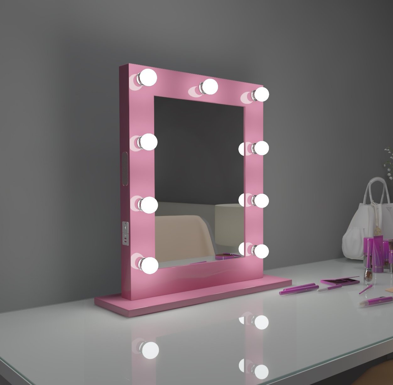 Hollywood Mirror Marylin 20 x 26 in Pink with bluetooth