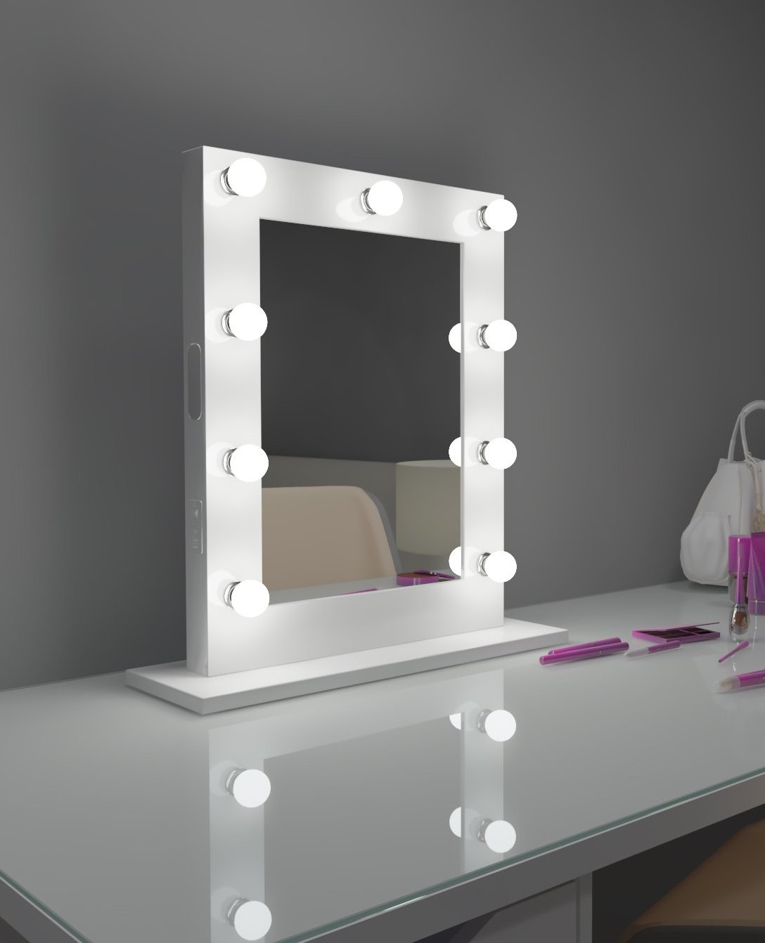 Hollywood Mirror Marylin 20 x 26 in White with bluetooth
