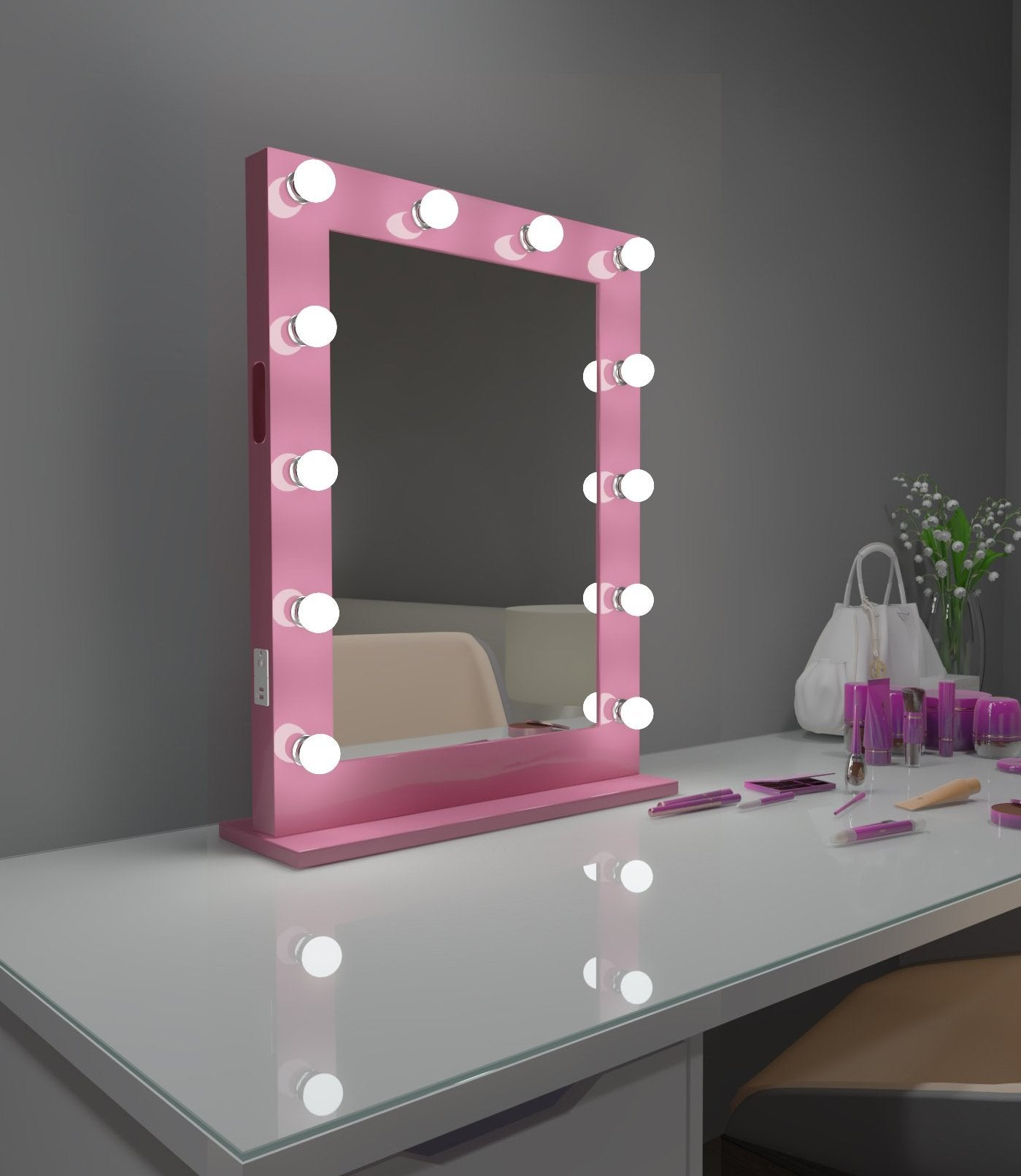 Hollywood Mirror Marylin 24 x 32 in Pink with Bluetooth