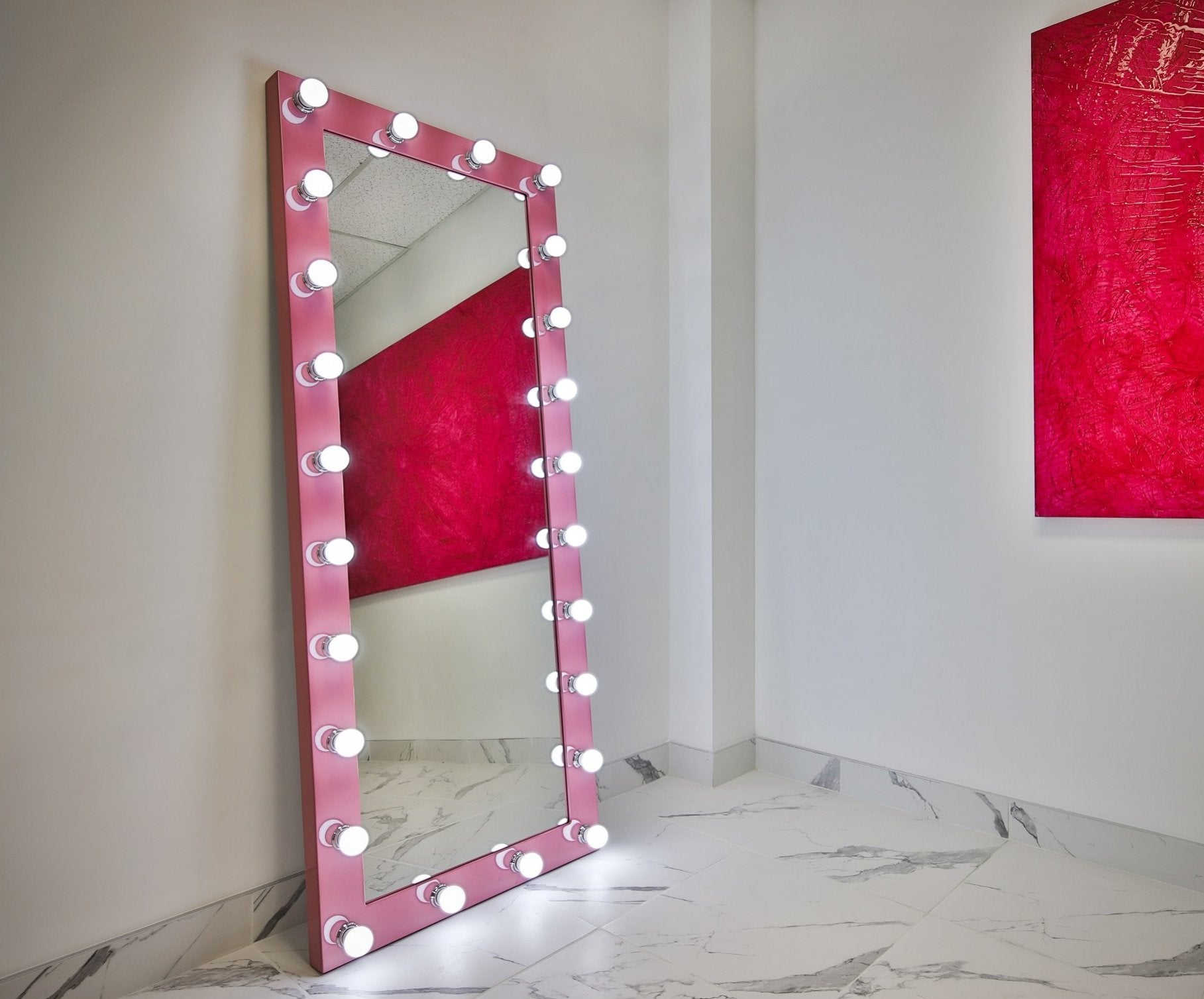 Dressing Hollywood Mirror Pink 70 x 28 in