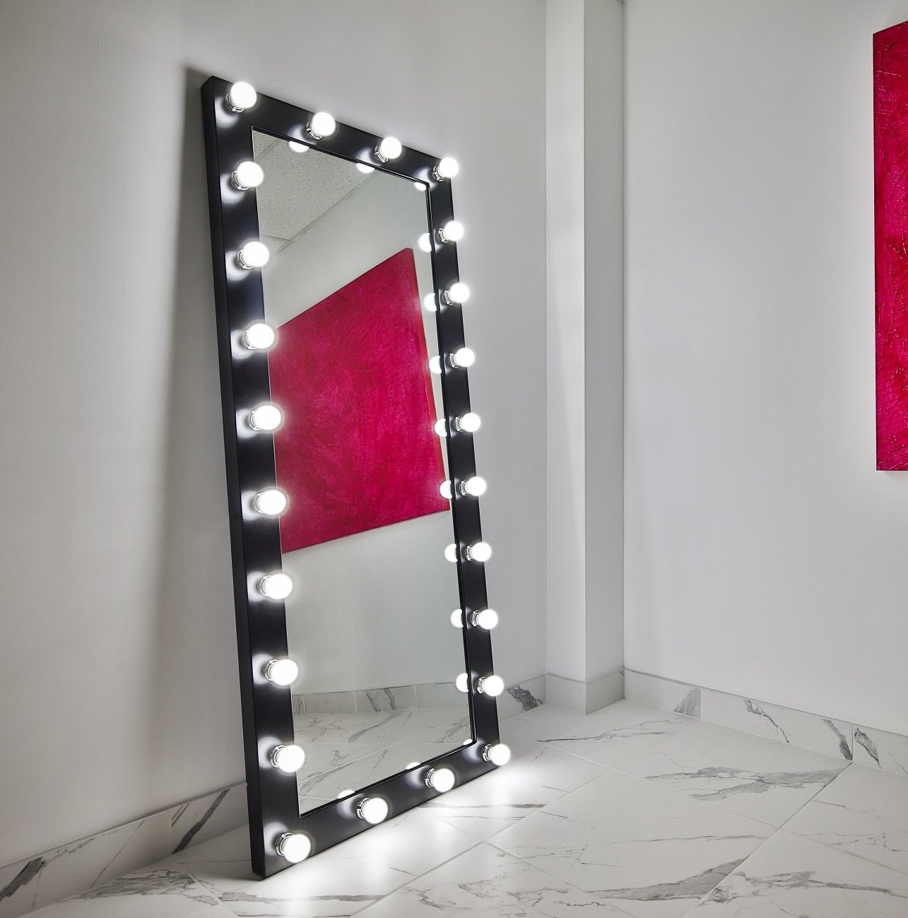 Dressing Hollywood Mirror Black 70 x 28 in