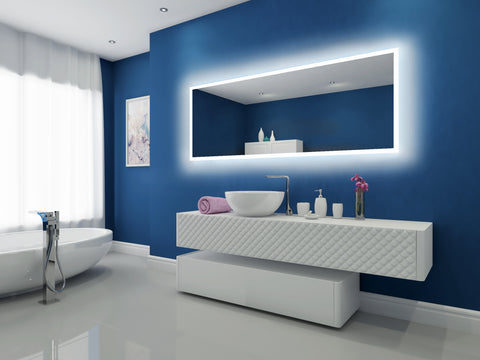 Dimmable Backlit Mirror Rectangle 79 X 30 in