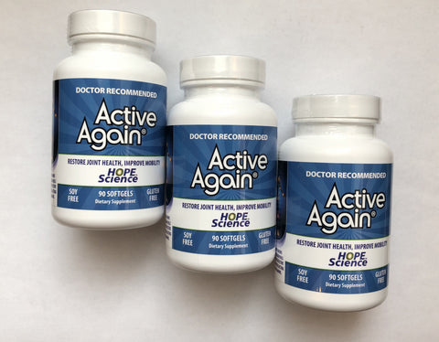 "Active Again® (EFAC) ""3 Pack"" Human Grade  Joint Support 90 Soft Gels Save 12.5%"