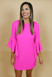 Michelle Hot Pink Bell Sleeve Dress