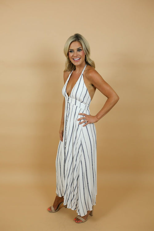 Elyse White Embroidered Halter Maxi Dress