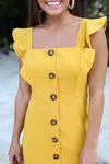 Ruffles & Buttons Dress - Mustard Yellow