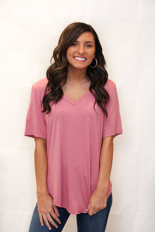 Short Sleeve V-Neck Piko - Dusty Rose