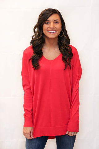 We're Dreaming V-Neck Sweater - Bright Pink