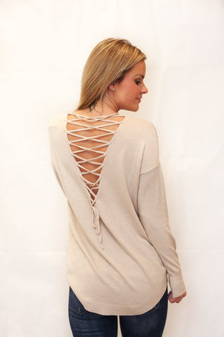 We're Dreaming Lace-Up Sweater - Oatmeal