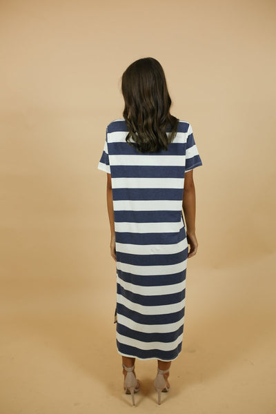 Cafe Society Blue + White Maxi Dress