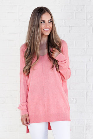 We're Dreaming V-Neck Sweater - Neon Coral