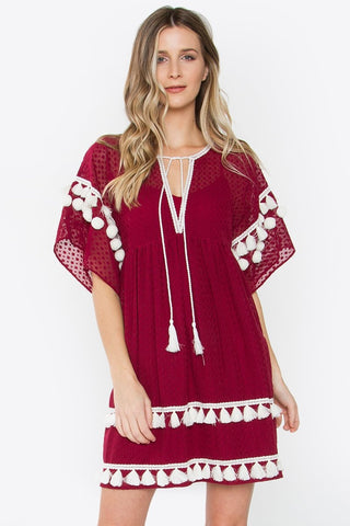 SUGAR + LIPS Merino Tassel Trim Dress
