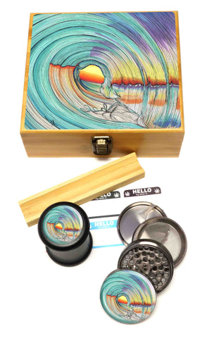 "BRAND NEW ITEM! - Lifeline - Stash Box Combo - VERY LARGE SIZE - Includes 2.5"" Four Part Herb Grinder, UV Stash Jar and Rolling Tray"