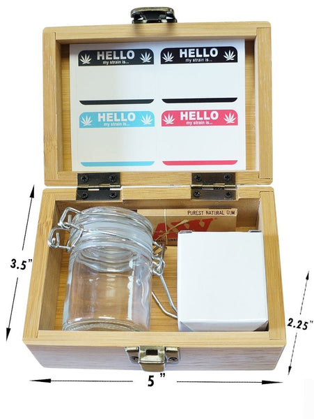 "Lifeline - Stash Box Combo - Small 4 Part Grinder and stash jar - 1.5"" w/ Glass jar with labels Wood Stash Boxes"