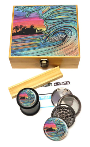 "BRAND NEW ITEM! - Throwing Wave - Stash Box Combo - VERY LARGE SIZE - 4 Part Herb Grinder - 2.5"", Black UV Glass Jar, Rolling Tray, and Labels"