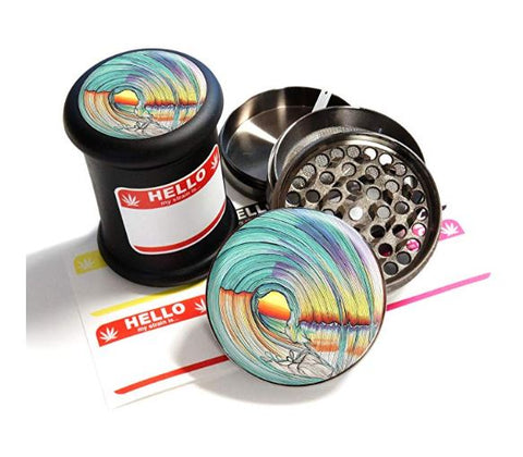 "BRAND NEW ITEM! - Lifeline - Grinder Jar Combo Set - 4 Part Herb Grinder and 2.5"", Black UV Glass Jar"