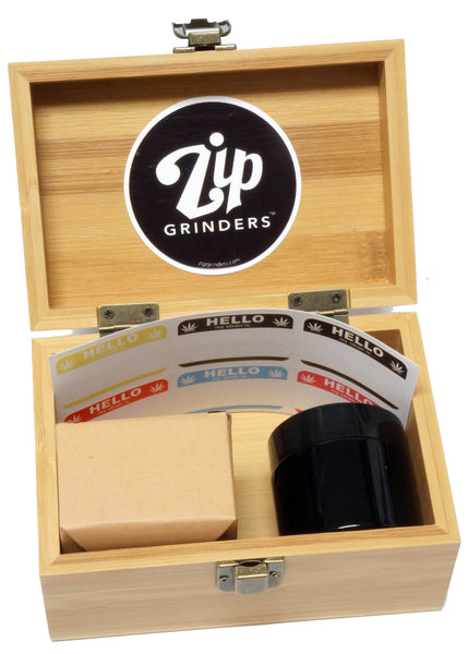 "BRAND NEW ITEM!  - Throwing Wave - Stash Box Combo - MEDIUM SIZE - 4 Part Grinder - 2.5"" - UV Glass jar with labels"
