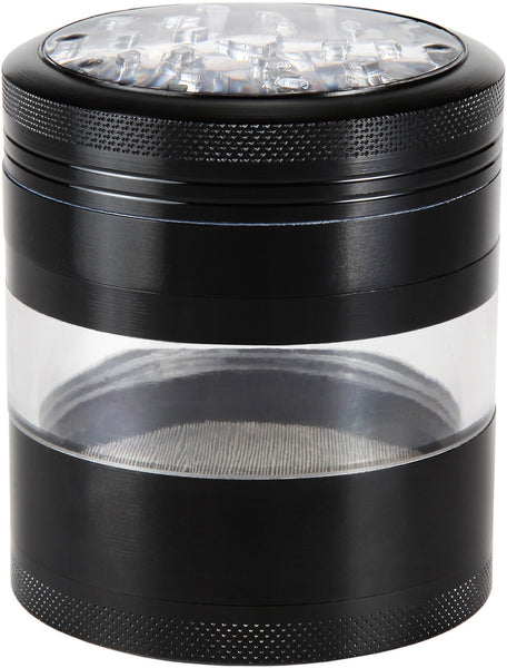"Large Herb Grinder - Mega Crusher - 2.5"" Clear Top (Black) , Grinders - Zip Grinders - FA, Zip Grinders  - 1"