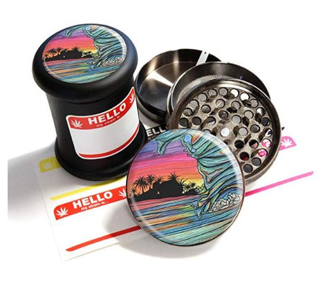 "BRAND NEW ITEM! - Throwing Wave - Grinder Jar Combo Set - 4 Part Herb Grinder and 2.5"", Black UV Glass Jar"
