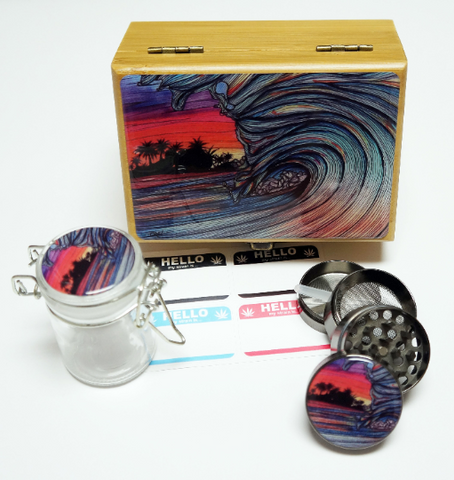 "Throwing Wave -  Stash Box Combo - Small 4 Part Grinder and stash jar - 1.5"" w/ Glass jar with labels Wood Stash Boxes"