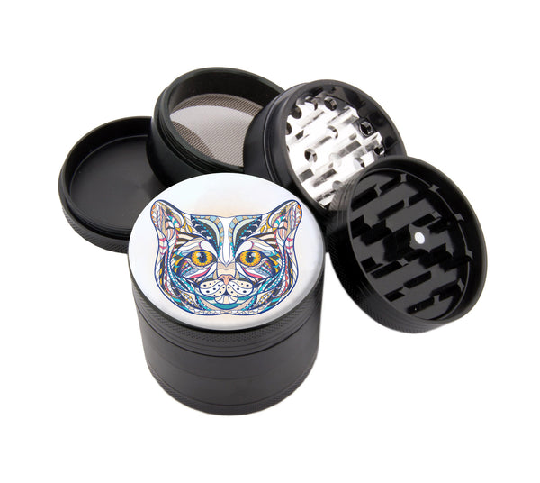 "My Colorful Cat - 2.25"" Premium Black Herb Grinder - Custom Designed , Grinders - Zip Grinders, Zip Grinders  - 1"