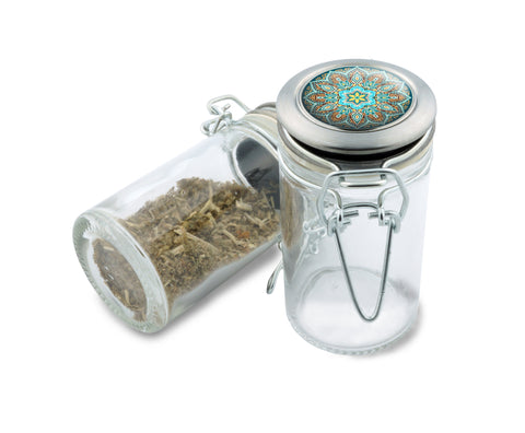 Glass Jar - Blue Lotus Mandala - 75ml Herb and Spice Storage Container , Glass Jars - Zip Grinders, Zip Grinders  - 1