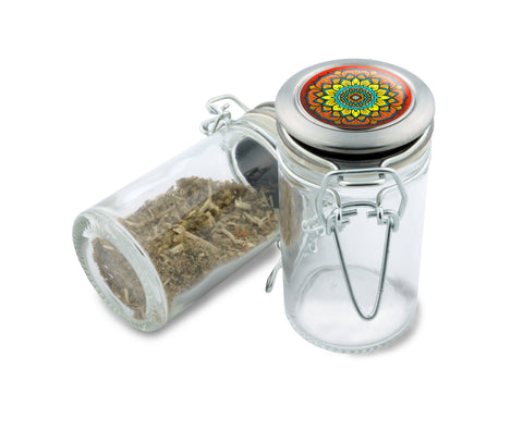 Glass Jar -  Pure Blossom Mandala - 75ml Herb and Spice Storage Container , Glass Jars - Zip Grinders, Zip Grinders  - 1