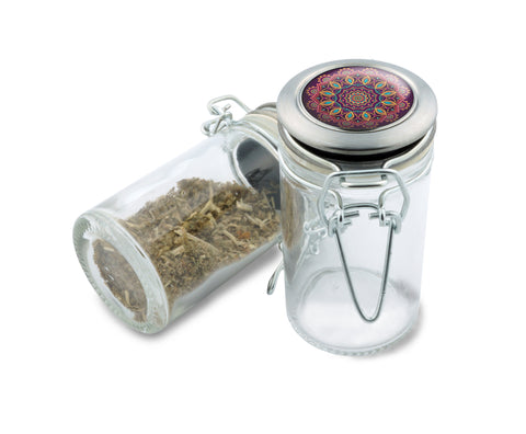 Glass Jar - Love Child Mandala - 75ml Herb and Spice Storage Container , Glass Jars - Zip Grinders, Zip Grinders  - 1