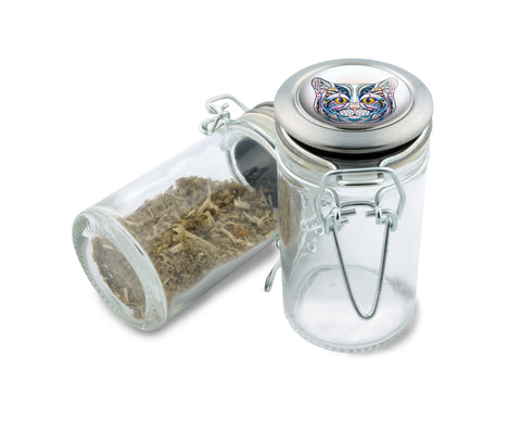 Glass Jar - My Colorful Cat- 75ml Herb and Spice Storage Container , Glass Jars - Zip Grinders, Zip Grinders  - 1
