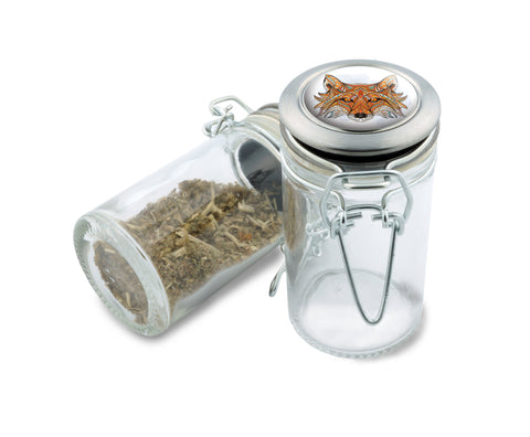 Glass  Jar - Native Fox - 75ml Herb and Spice Storage Container , Glass Jars - Zip Grinders, Zip Grinders  - 1