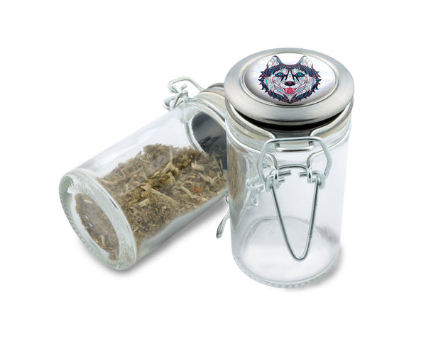 Glass Jar - Native Wolf- 75ml Herb and Spice Storage Container , Glass Jars - Zip Grinders, Zip Grinders  - 1