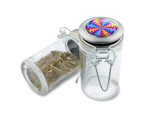 Glass Jar - Dazed Spin Illusion - 75ml Herb and Spice Storage Container , Glass Jars - Zip Grinders, Zip Grinders  - 1