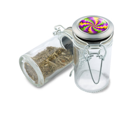 Glass Stash Jar - Shocker Spin Illusion - 75ml Storage Container - Secret Stash Box for Custom Herb Grinder - Stay Fresh Herbs 1/6 oz. , Glass Jars - Zip Grinders, Zip Grinders  - 1