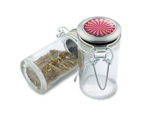 Glass Jar - Buzzed Spin Illusion - 75ml Herb and Spice Storage Container , Glass Jars - Zip Grinders, Zip Grinders  - 1