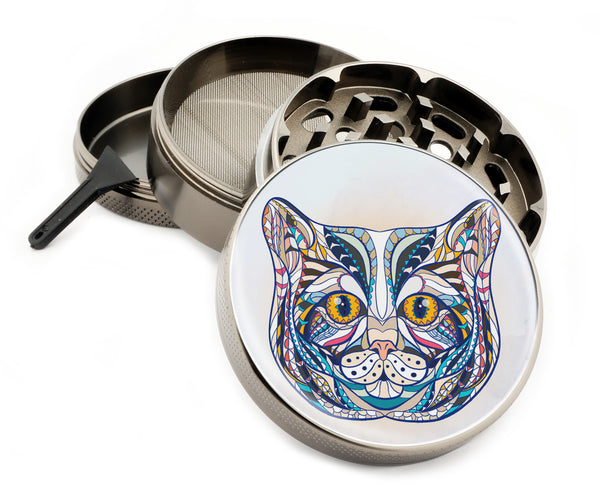 "My Colorful Cat - 2.5"" Premium Zinc Herb Grinder - Custom Designed , Grinders - Zip Grinders, Zip Grinders  - 1"