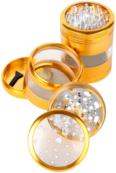 "Large Herb Grinder - Mega Crusher - 2.5"" Clear Top (Gold) , Grinders - Zip Grinders - FA, Zip Grinders  - 2"
